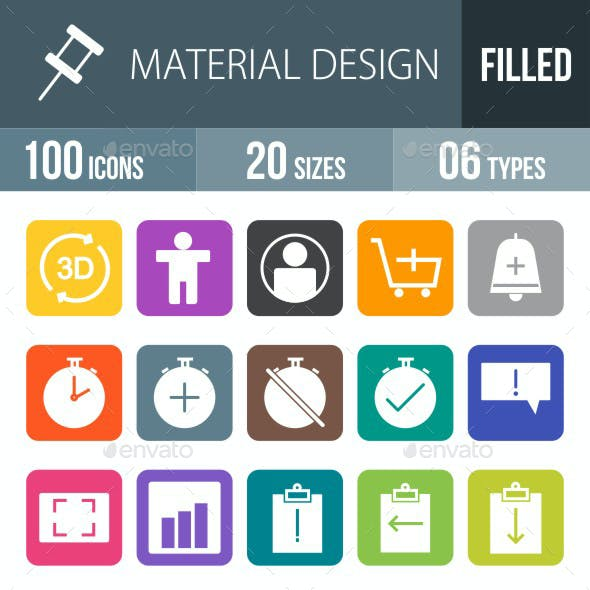 Material Design Flat Round Corner Icons