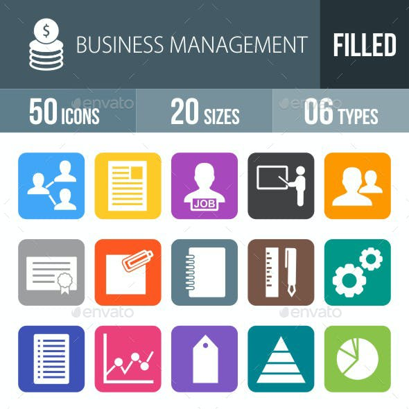 Business Management Flat Round Corner Icons
