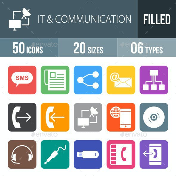 IT & Communication Flat Round Corner Icons