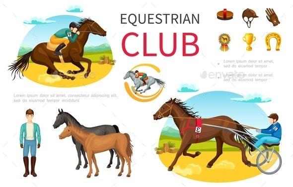 Cartoon Equestrian Sport Elements Set - People Characters