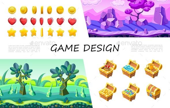 Cartoon Game Design UI Composition - Flowers & Plants Nature