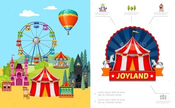 Cartoon Amusement Park Concept - Food Objects