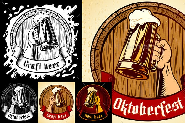 Vector Oktoberfest Glass Barrel Vintage Background set - Food Objects