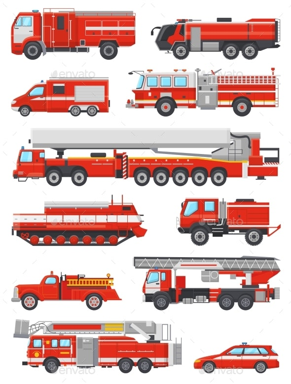Fire Engine Vector Firefighting Emergency Vehicle - Miscellaneous Vectors