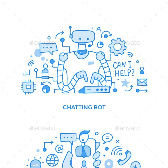 Collection of Customer Support & Professional Online Assistance Doodle Spot Illustrations