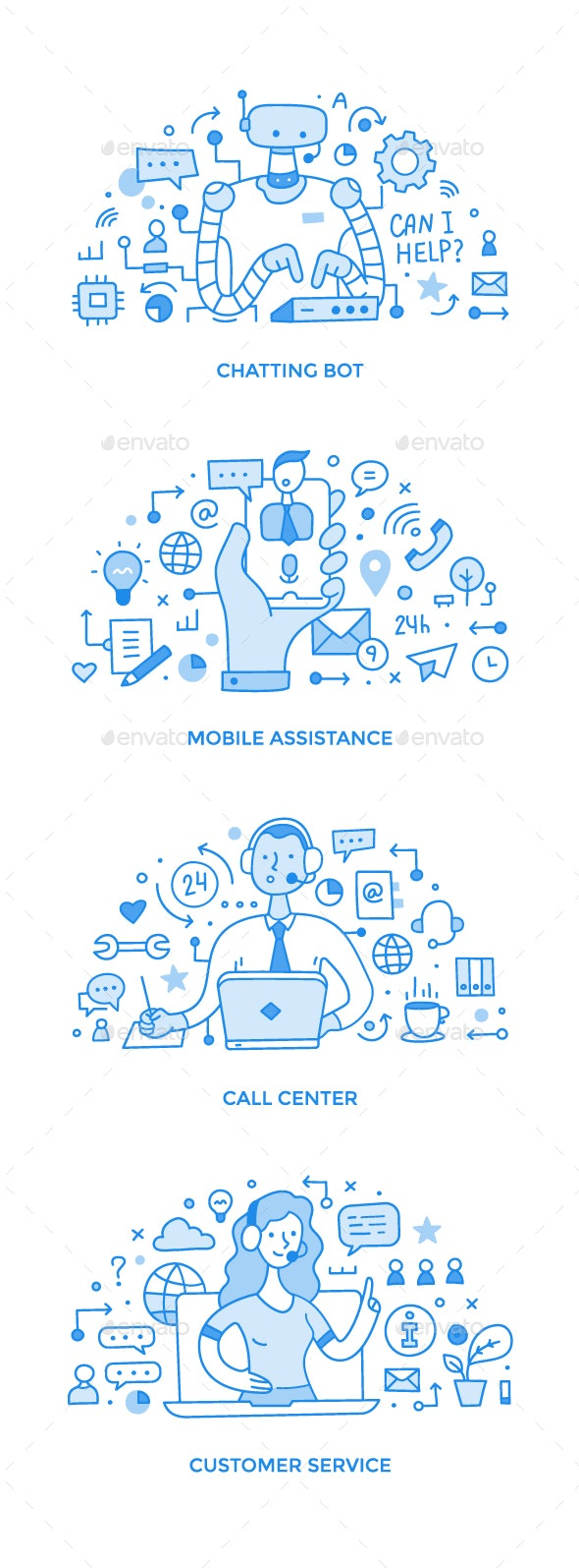 Collection of Customer Support & Professional Online Assistance Doodle Spot Illustrations - Communications Technology