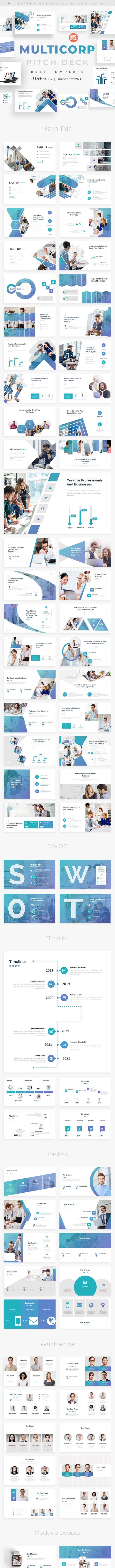 MultiCorp Pitch Deck Powerpoint Template - Business PowerPoint Templates