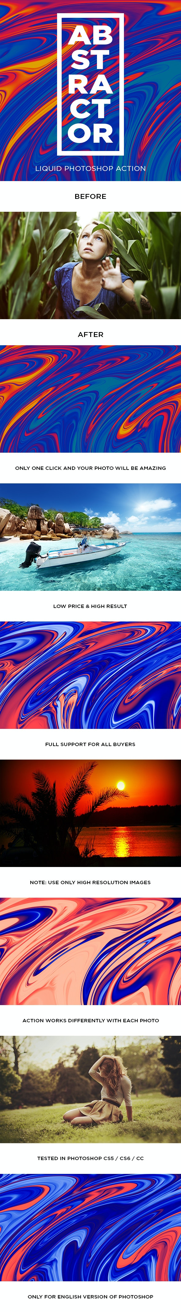 Abstractor Liquid Photoshop Action - Photo Effects Actions