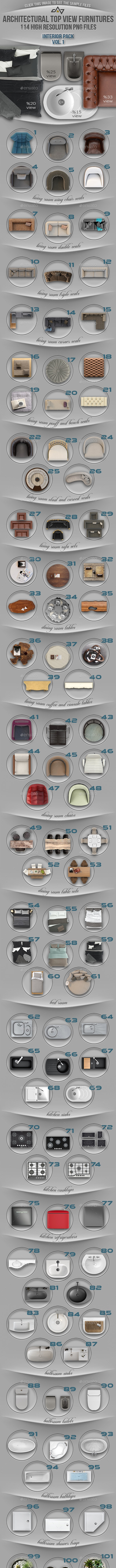 114 Top View Furnitures for 3D Floor Plans Vol 1 - Miscellaneous Product Mock-Ups
