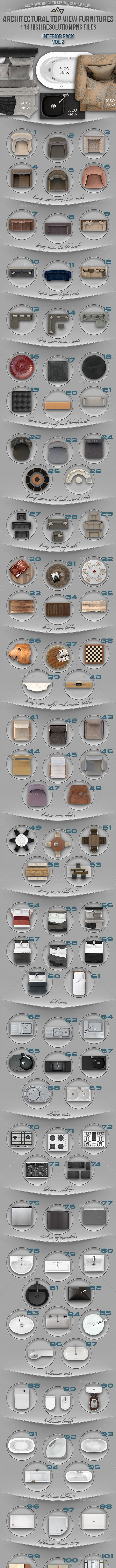 114 Top View Furnitures for 3D Floor Plans Vol 2 - Miscellaneous Product Mock-Ups