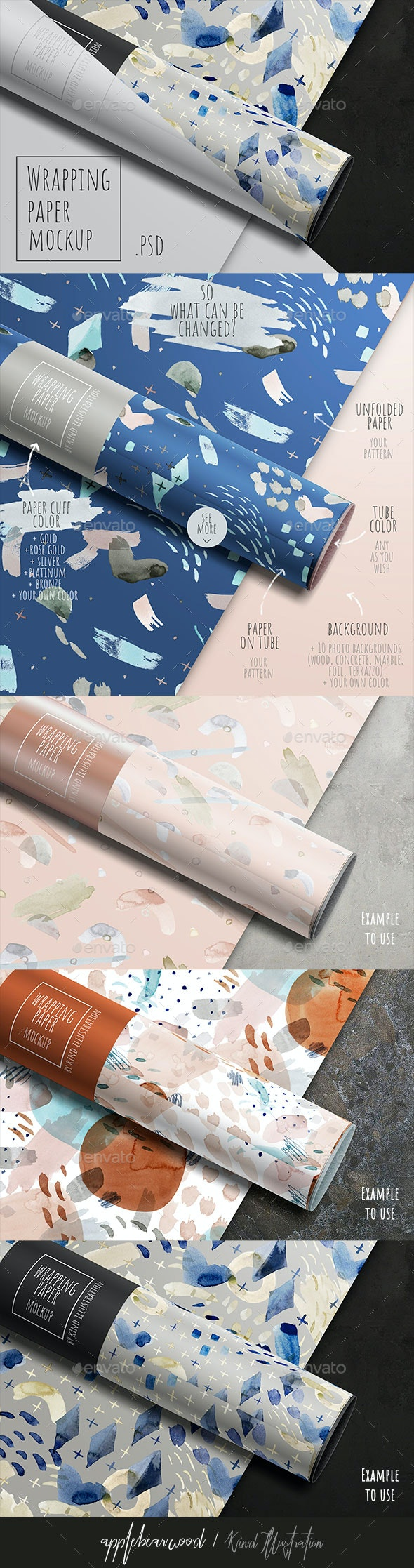 Wrapping paper mockup - Product Mock-Ups Graphics