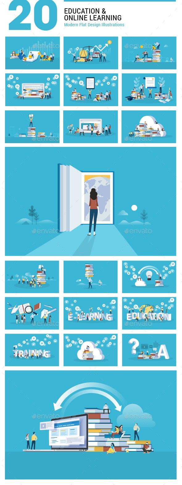 Flat Design Education Illustrations - Computers Technology