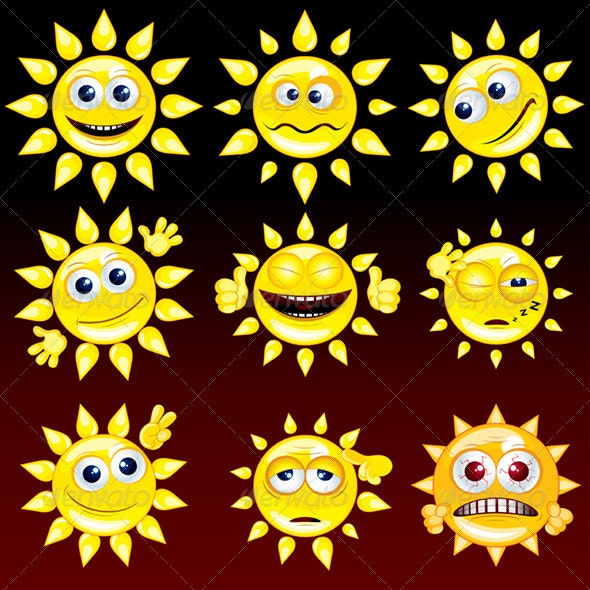 Funny Sun - Decorative Symbols Decorative