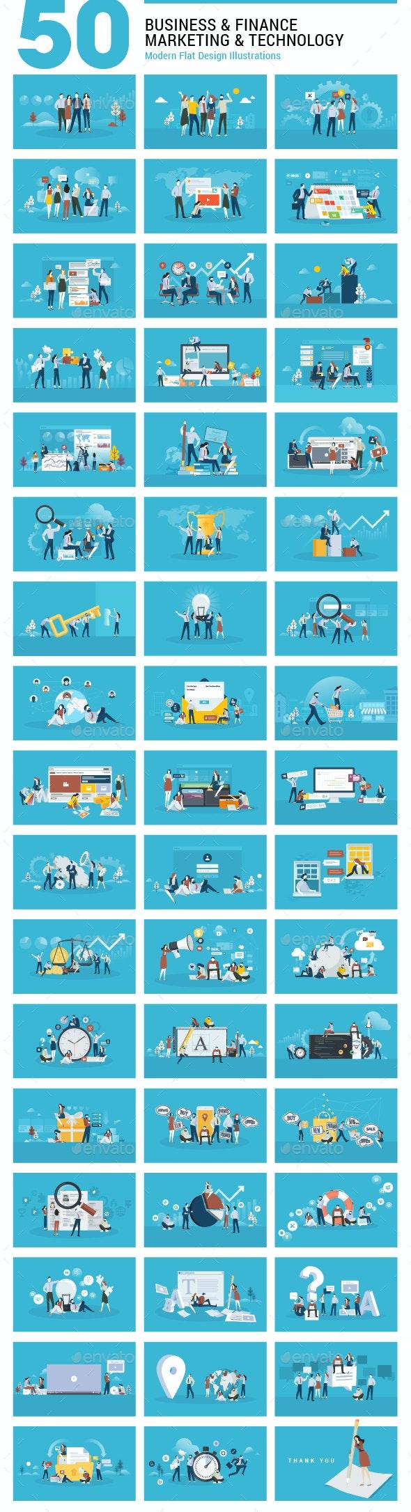 Flat Design Illustrations - Concepts Business