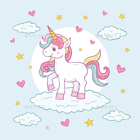 Colorful Unicorn Character Illustration - Animals Characters