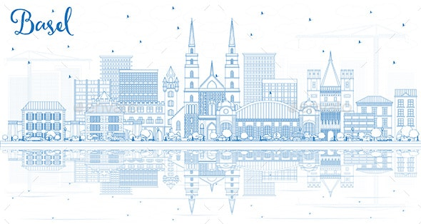 Outline Basel Switzerland City Skyline with Blue Buildings - Buildings Objects