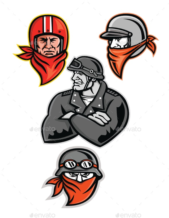 Biker Outlaw Mascot Collection - People Characters