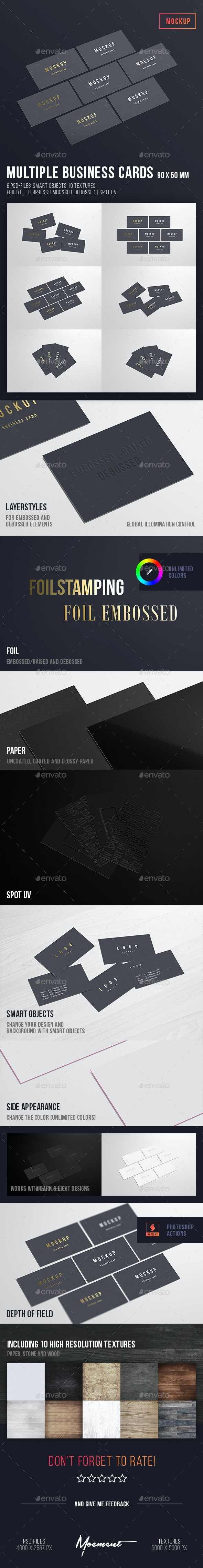 Multiple Business Cards Mockup 90x50 - Business Cards Print