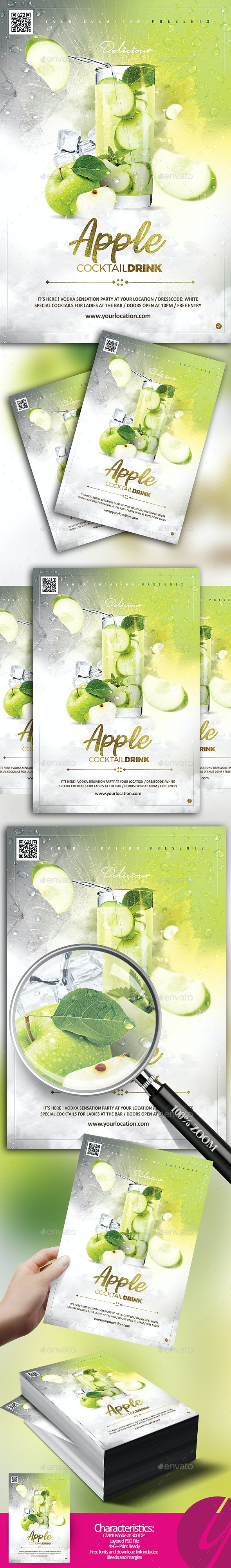 Apple Cocktail Drink Flyer - Clubs & Parties Events
