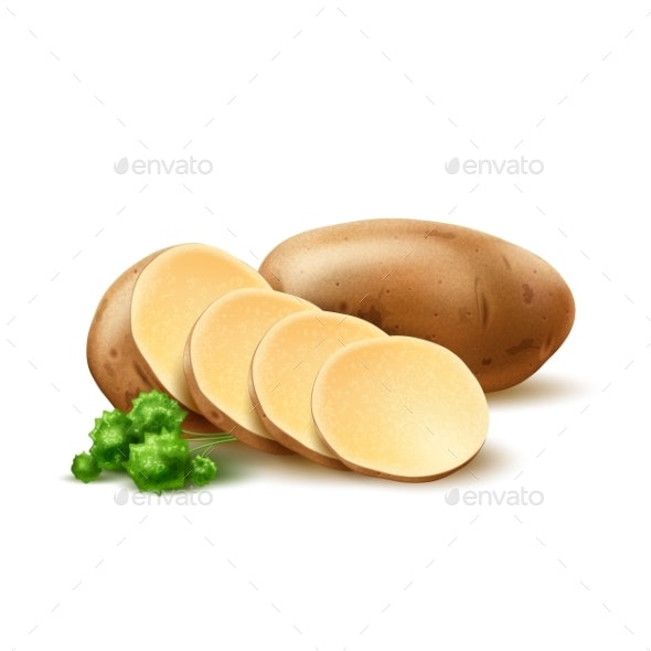 Vector Realistic Potato with Leaves - Food Objects