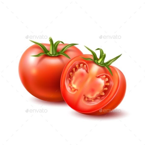 Vector Realistic Tomato with Leaves