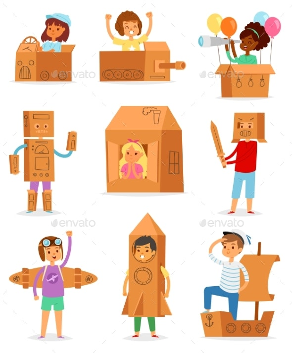 Kids in Box Vector Creative Children Character - People Characters
