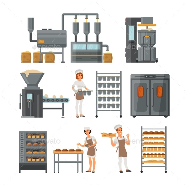 Bread Production Icon Set Vector Illustration - Industries Business