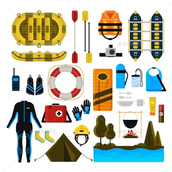 Rafting Icon Set Vector Isolated Illustration - Sports/Activity Conceptual