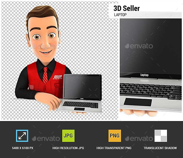 3D Seller Behind Wall Holding Laptop - Characters 3D Renders