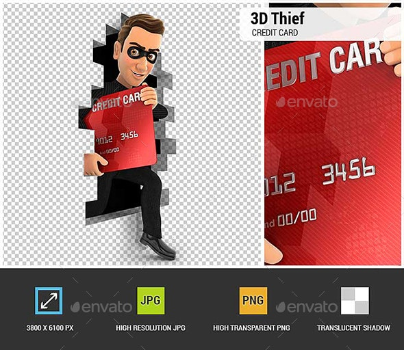 3D Thief Coming out Through a Wall with Credit Card - Characters 3D Renders