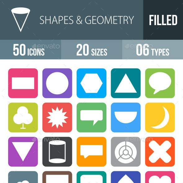 50 Shapes & Geometry Filled Round Corner Icons