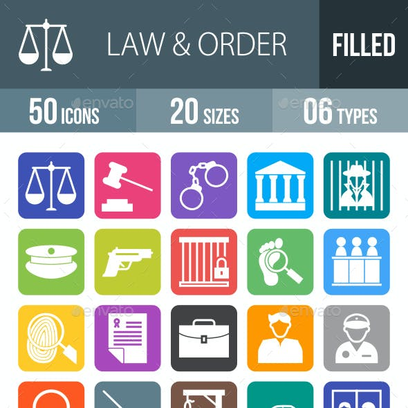 50 Law & Order Filled Round Corner Icons