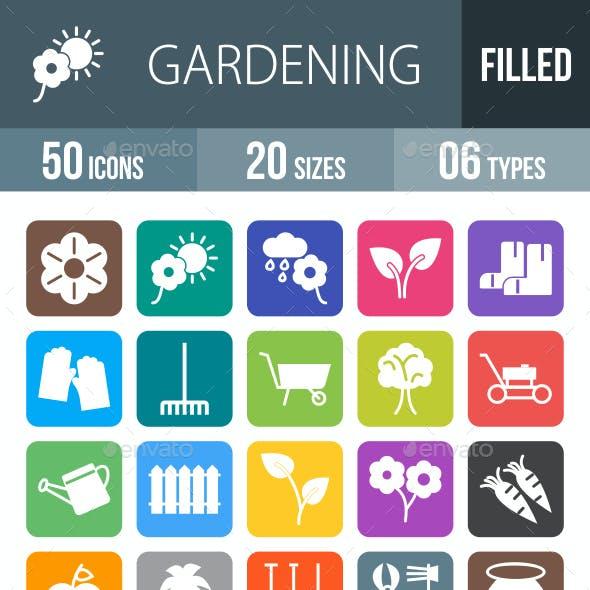 50 Gardening Line Filled Round Corner Icons