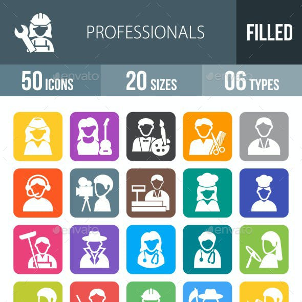 50 Professionals Filled Round Corner Icons