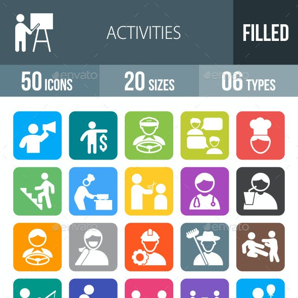 50 Activities Filled Round Corner Icons