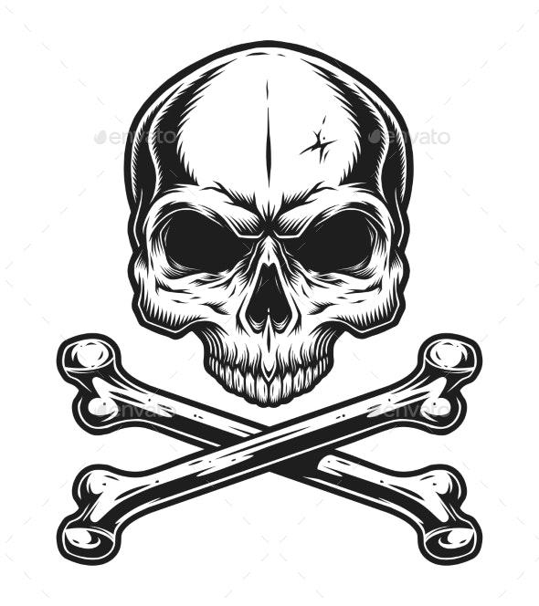 Vintage Skull and Crossbones Monochrome Template - Miscellaneous Vectors