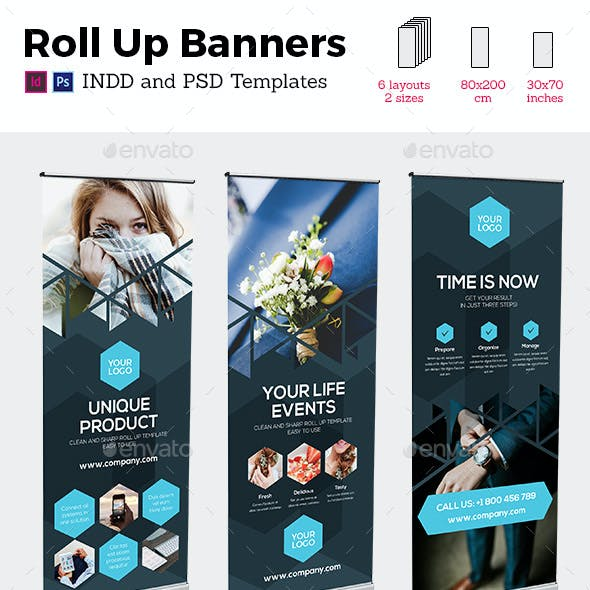 Rollup Stand Banner Display Triangle 6x Indesign and Photoshop Template
