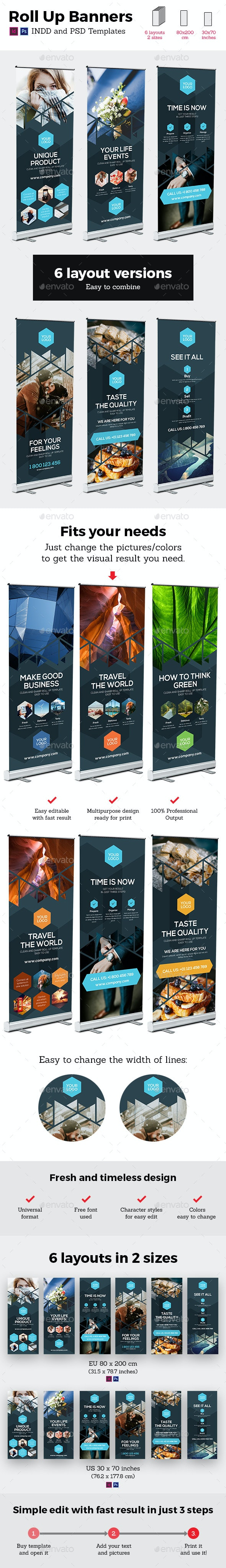 Rollup Stand Banner Display Triangle 6x Indesign and Photoshop Template - Signage Print Templates