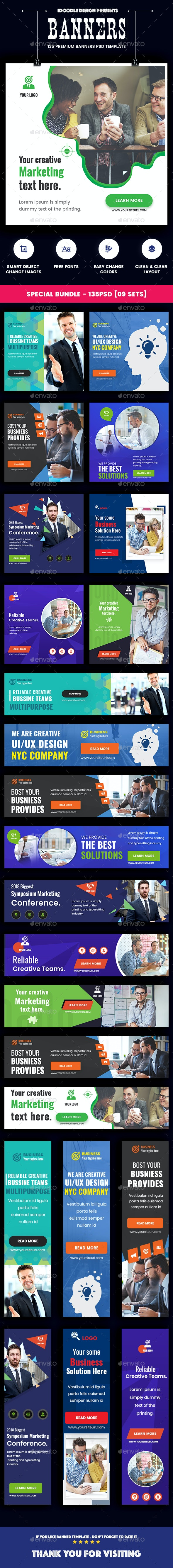 Bundle Multipurpose, Corporate, Business Banners Ad – 09 Sets [135 PSD] - Banners & Ads Web Elements
