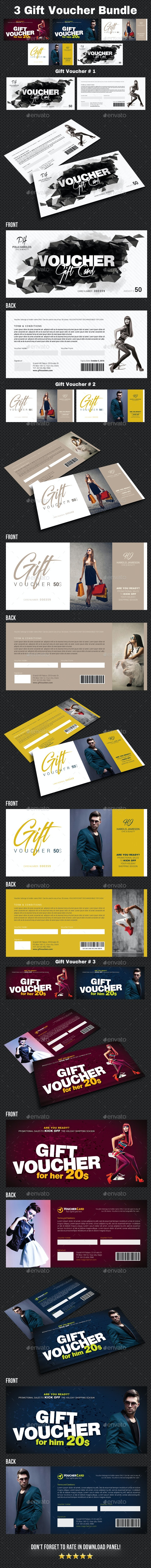 3 Gift Voucher Bundle - Cards & Invites Print Templates