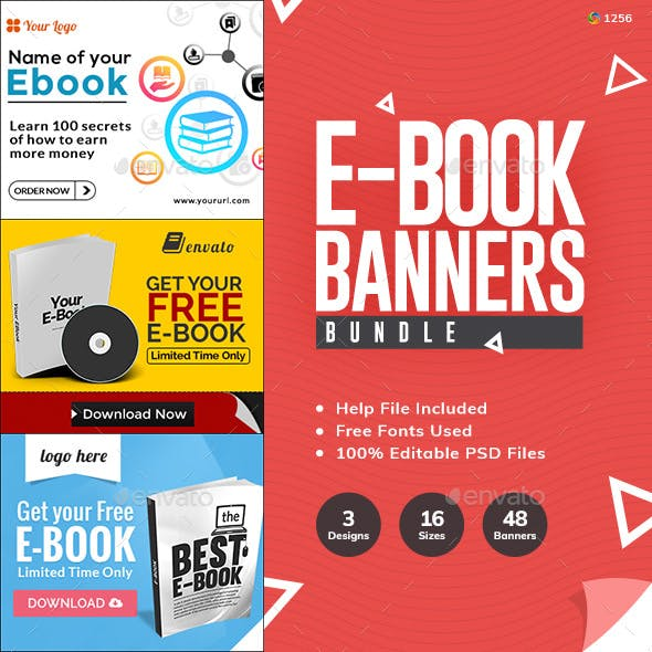 E-Books & Digital Products Bundle - 3 Banner Sets