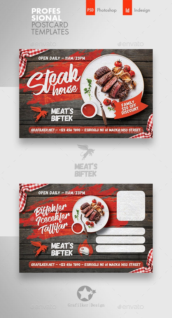 Steak House Postcard Templates - Cards & Invites Print Templates