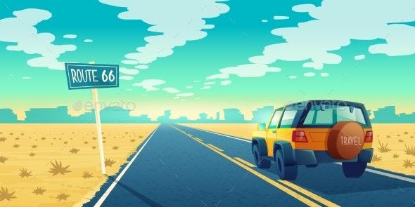 Vector Cartoon Desert Landscape with Road - Landscapes Nature