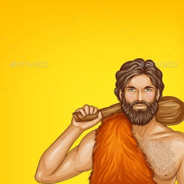 Vector Pop Art Caveman in Fur Loincloth