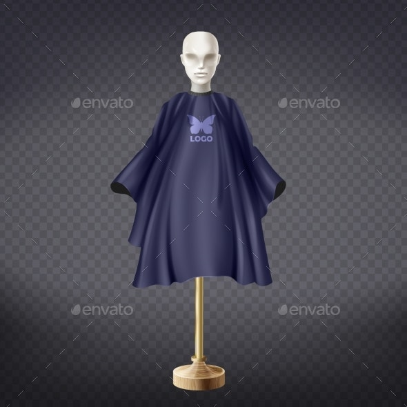 Vector Realistic Hairdresser Apron Cape - Man-made Objects Objects