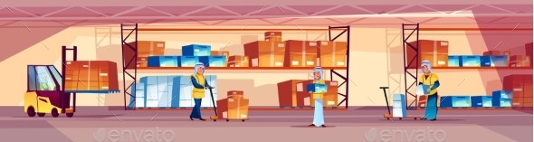 Warehouse and Arabian Workers Vector Illustration - People Characters