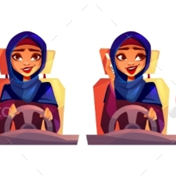 Woman Driving Car Vector Illustration