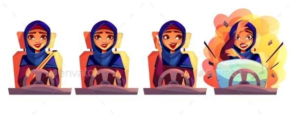 Woman Driving Car Vector Illustration - People Characters
