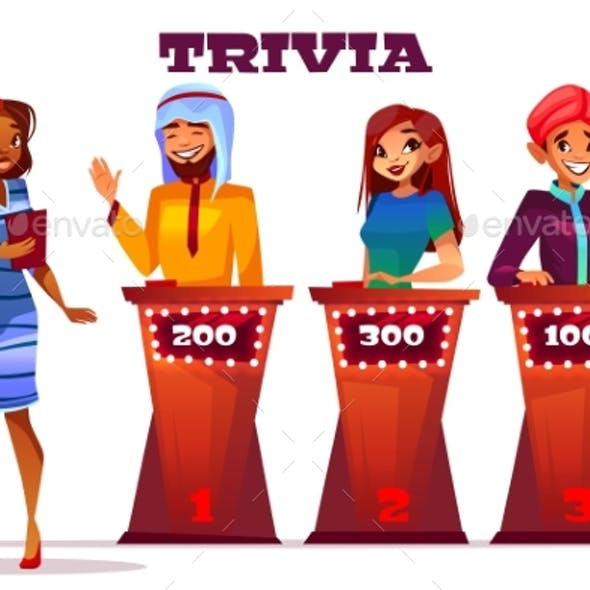 People on Quiz Game Show Vector Illustration
