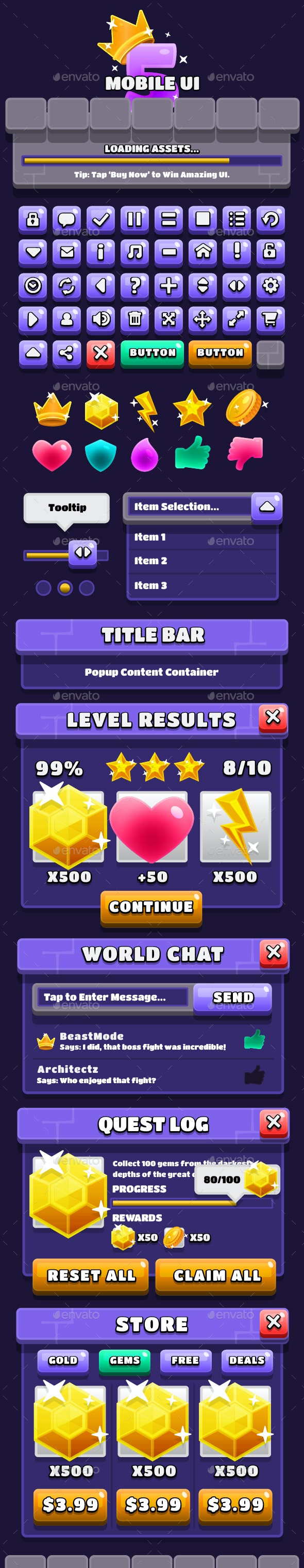 Mobile Game UI Assets 5